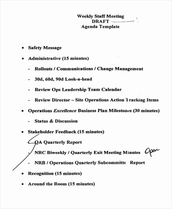 Staff Meetings Agenda Template Fresh 41 Meeting Agenda Templates