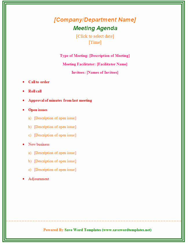 Staff Meetings Agenda Template Fresh Staff Meeting Agenda Template 39 Professional Agenda