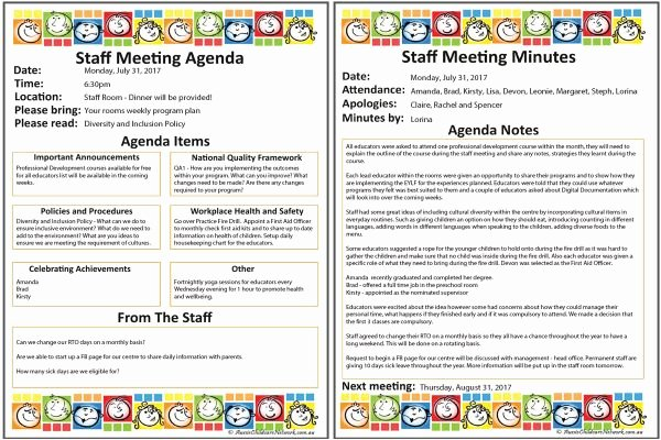 Staff Meetings Agenda Template Fresh Staff Meeting Templates Aussie Childcare Network