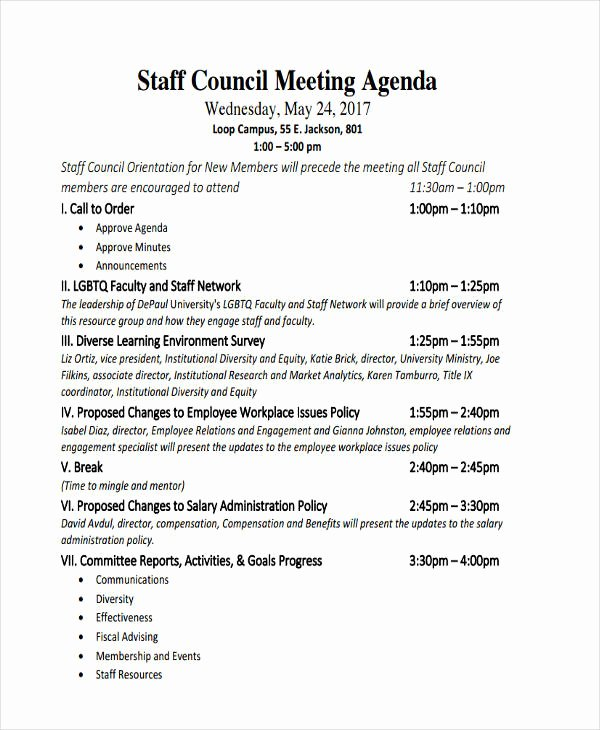 Staff Meetings Agenda Template Inspirational 46 Meeting Agenda Templates