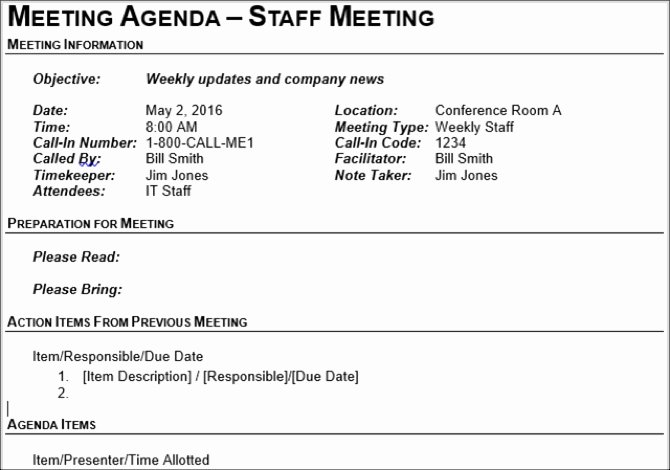 Staff Meetings Agenda Template Luxury 15 Free Meeting Agenda Templates for Microsoft Word