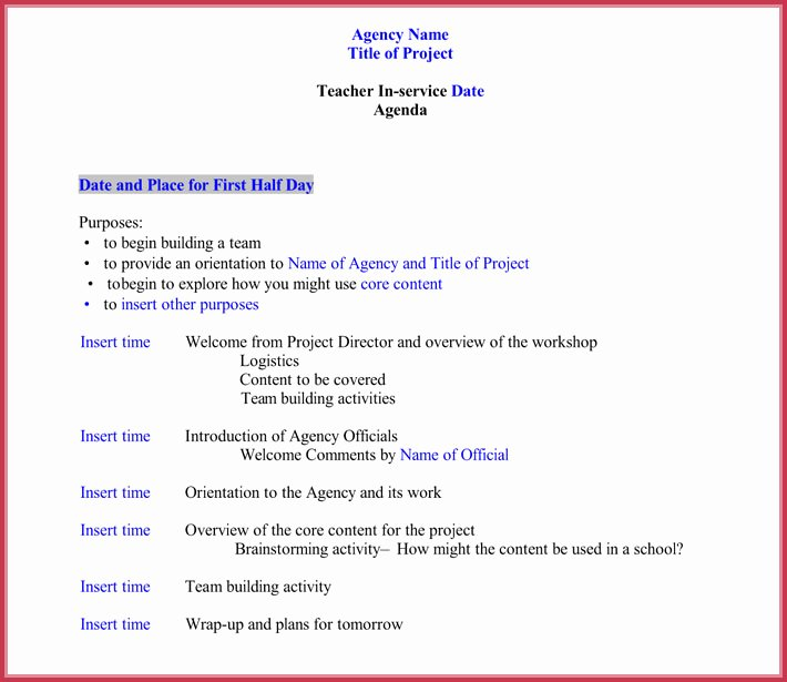Staff Meetings Agenda Template New 7 Staff Meeting Agenda Templates Samples In Word & Pdf