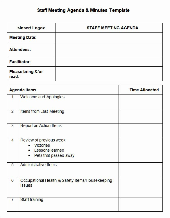 Staff Meetings Agenda Template New Meeting Minutes Template 25 Free Samples Examples
