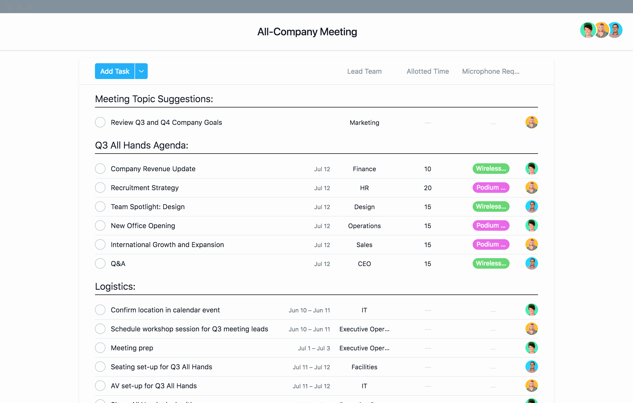 Staff Meetings Agenda Template New Staff & All Hands Meeting Agenda Template · asana