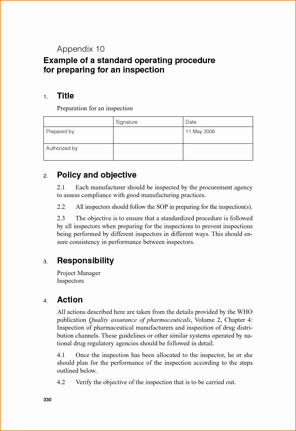 Standard Operating Procedure Example Best Of 5 sop Example