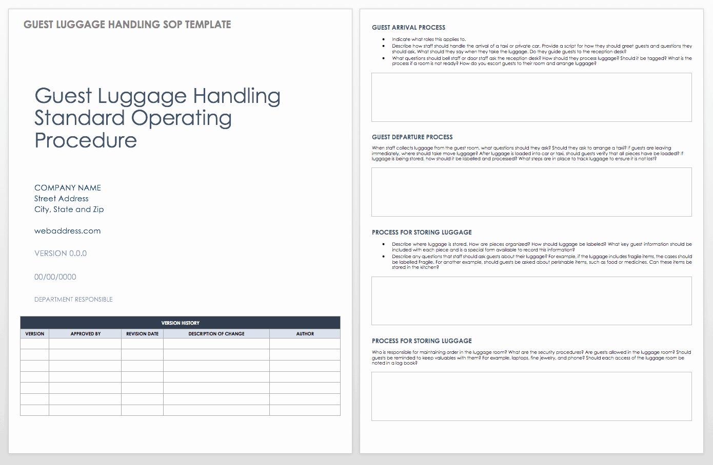 Standard Operating Procedure Example Best Of Standard Operating Procedures Templates