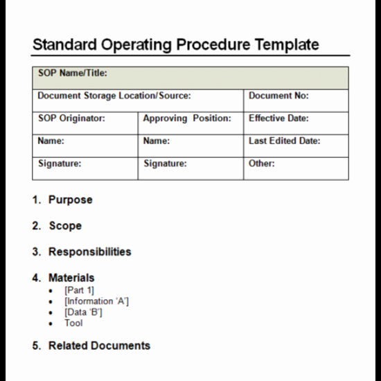 Standard Operating Procedure Sample Pdf Best Of 4 Facts About Standard Operating Procedure