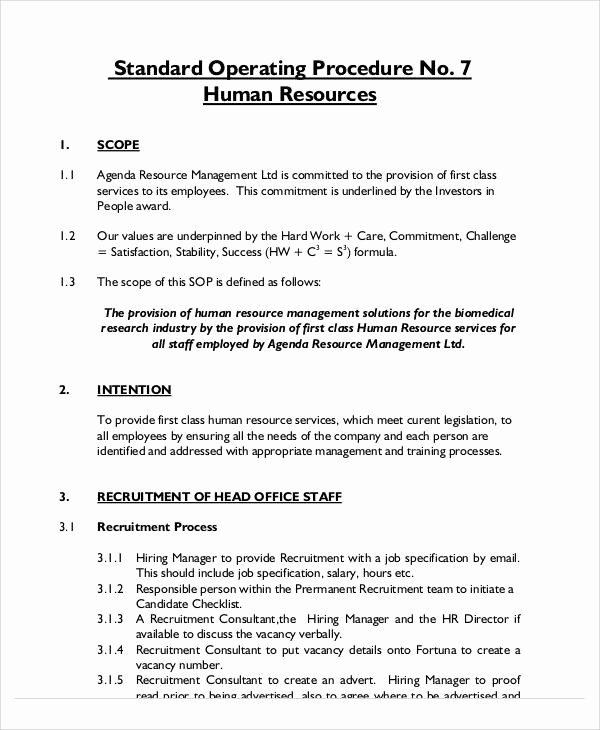 Standard Operating Procedure Sample Pdf Elegant 35 sop Templates In Pdf