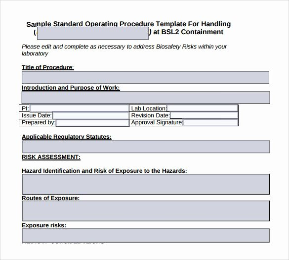 Standard Operating Procedure Sample Pdf Fresh sop format sop Template
