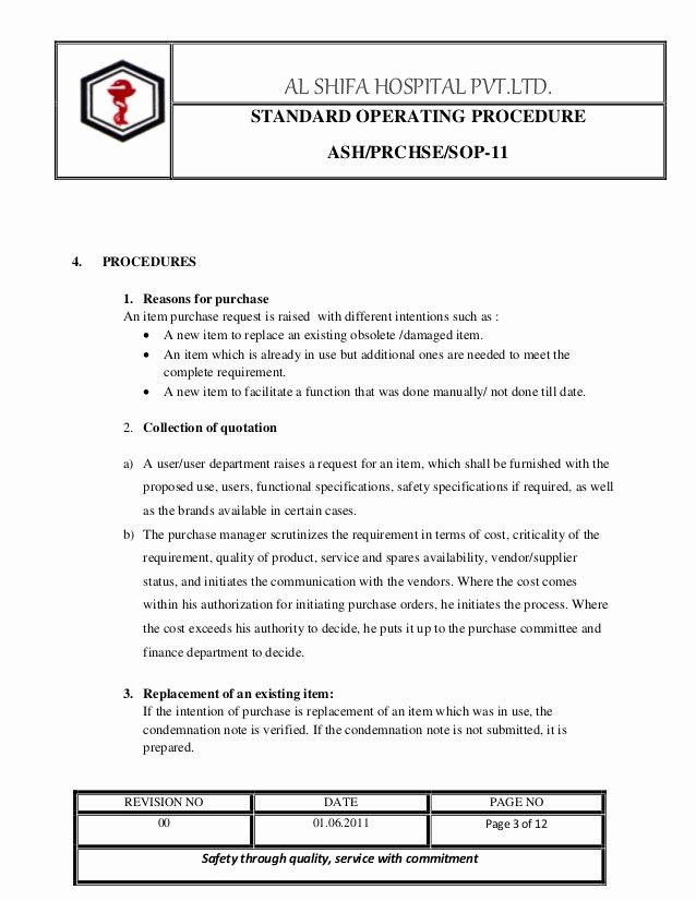 Standard Operating Procedure Sample Pdf Inspirational Purchase sop
