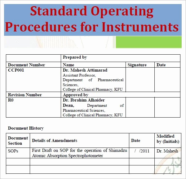 Standard Operating Procedure Sample Pdf Lovely Free 20 Sample sop Templates In Pdf Google Docs