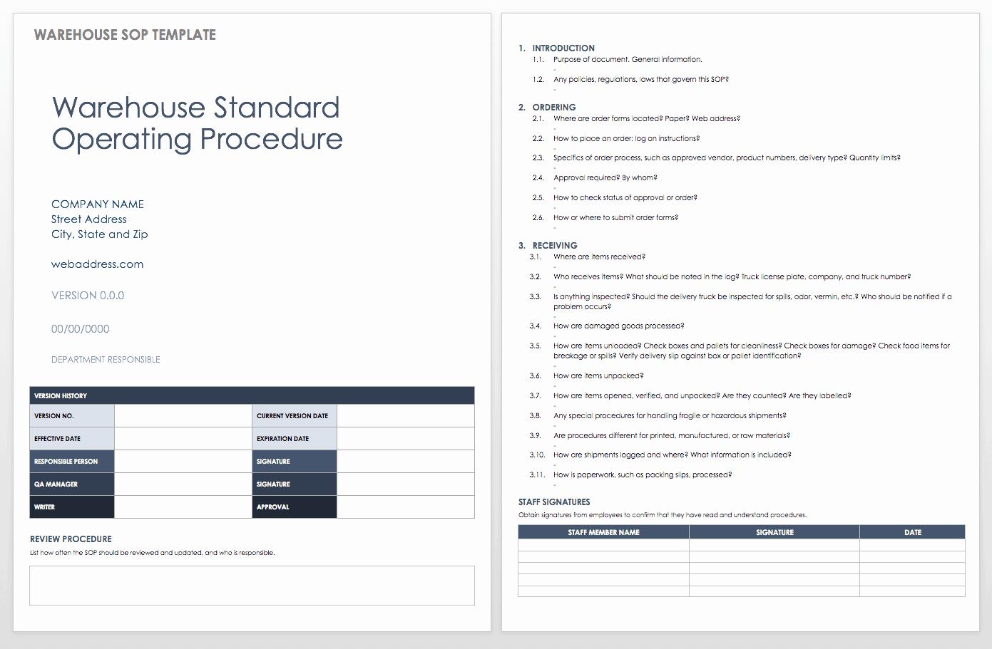 Standard Operating Procedures Template Best Of Standard Operating Procedures Templates