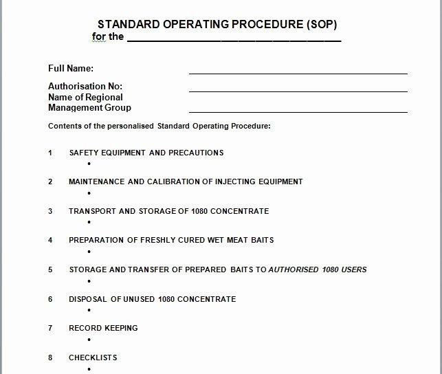 Standard Operating Procedures Template Fresh 37 Best Standard Operating Procedure sop Templates