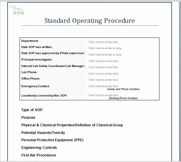 Standard Operating Procedures Template Fresh 37 Best Standard Operating Procedure sop Templates