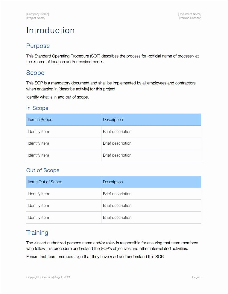 standard operating procedure sop templates apple iwork pages numbers
