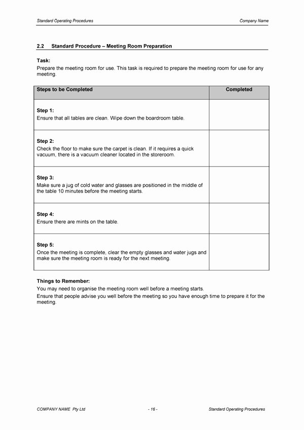 Standard Operating Procedures Template Inspirational Standard Operating Procedure Template Download