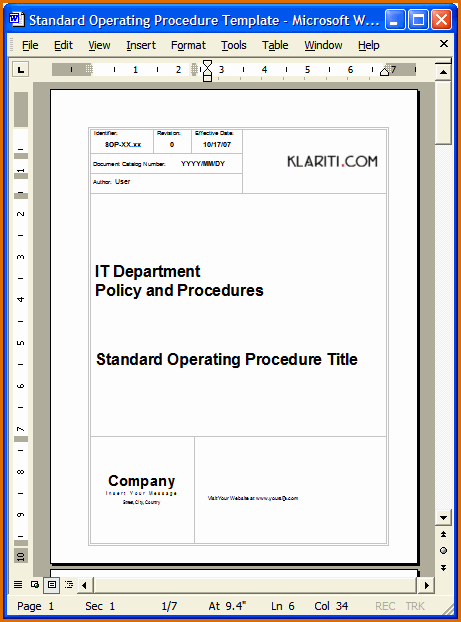 Standard Operating Procedures Template Lovely 13 Standard Operating Procedures Examples