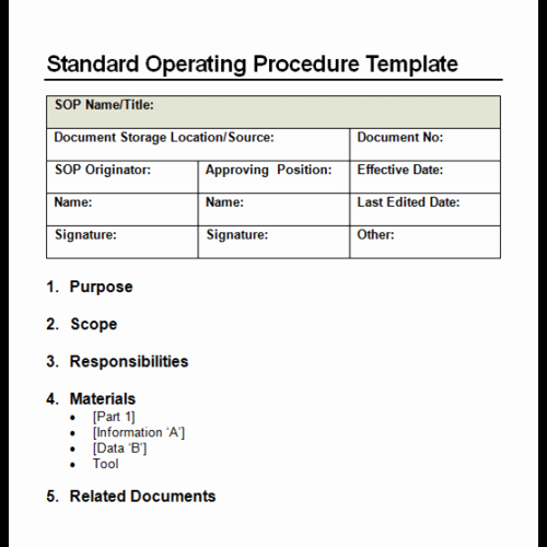 Standard Operating Procedures Template Lovely 9 Standard Operating Procedure sop Templates Word