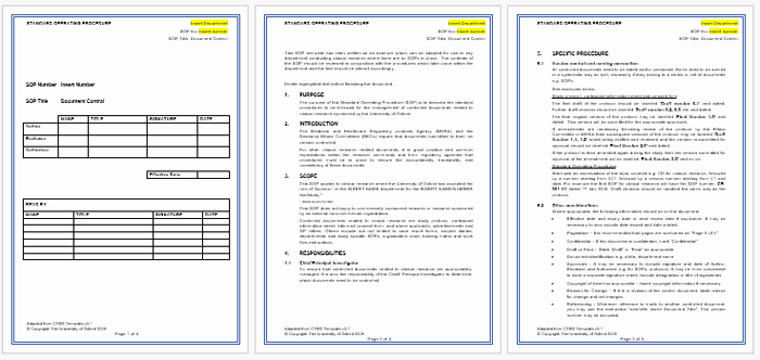 Standard Operating Procedures Template Lovely Standard Operating Procedure sop Templates for Word
