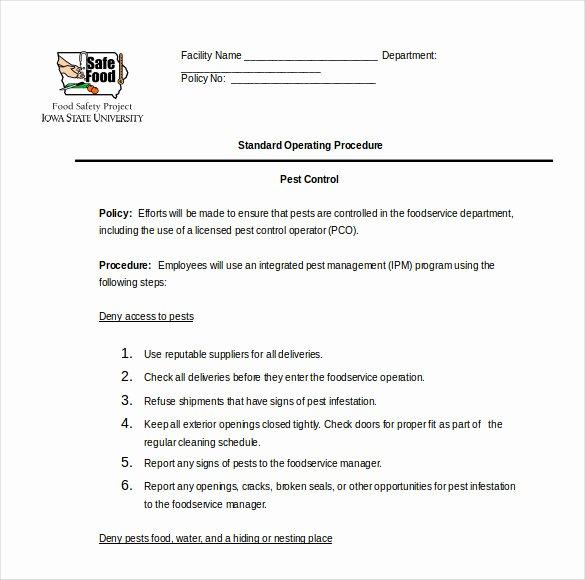 Standard Operating Procedures Template Luxury 13 Standard Operating Procedure Templates Pdf Doc