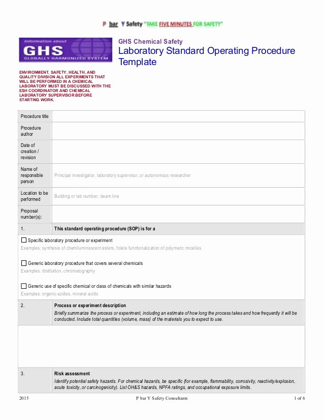 Standard Operating Procedures Template New Ghs Chemsafety Template sop