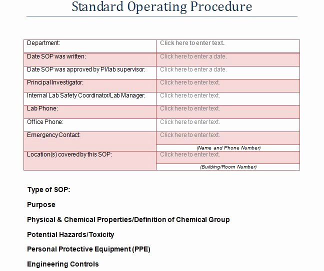 Standard Operating Procedures Template Unique 37 Best Standard Operating Procedure sop Templates