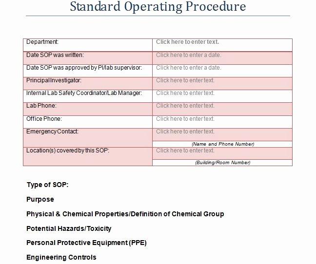 Standard Operating Procedures Template Unique 37 Best Standard Operating Procedure sop Templates