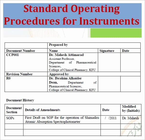 Standard Operation Procedure format Awesome Standard Operating Procedure Template Excel Pdf formats