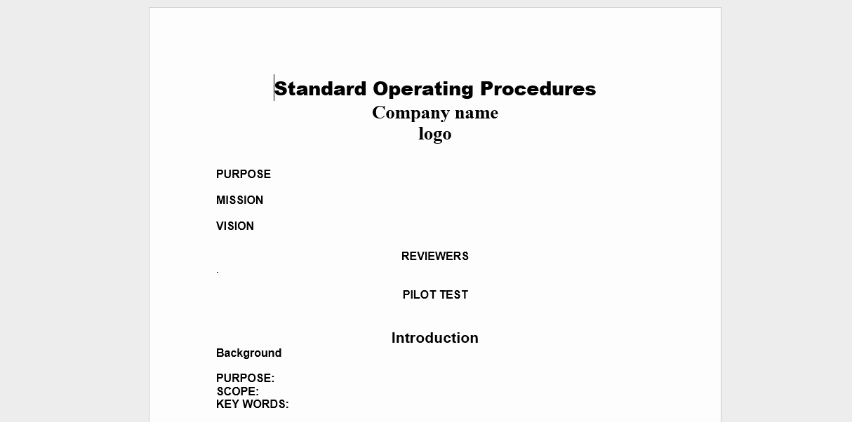 Standard Operation Procedure format Elegant 20 Free sop Templates to Make Recording Processes Quick