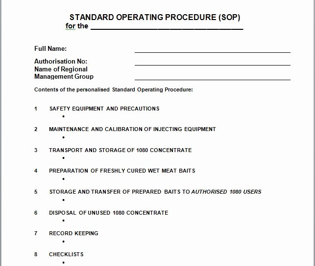 Standard Operation Procedure format Inspirational 37 Best Free Standard Operating Procedure sop Templates