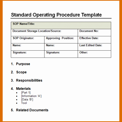 Standard Operation Procedure format Lovely 14 Standard Operating Procedures Templates