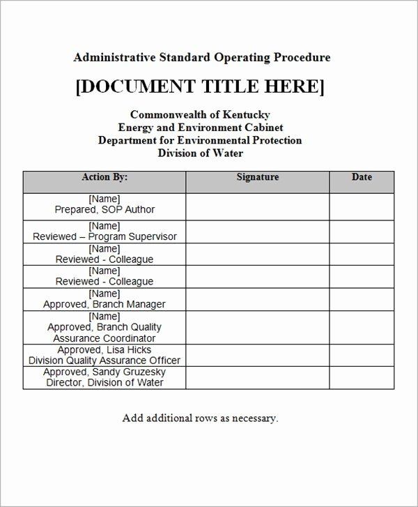 Standard Operation Procedure format Unique Sample sop Template 20 Free Documents In Word Pdf Excel