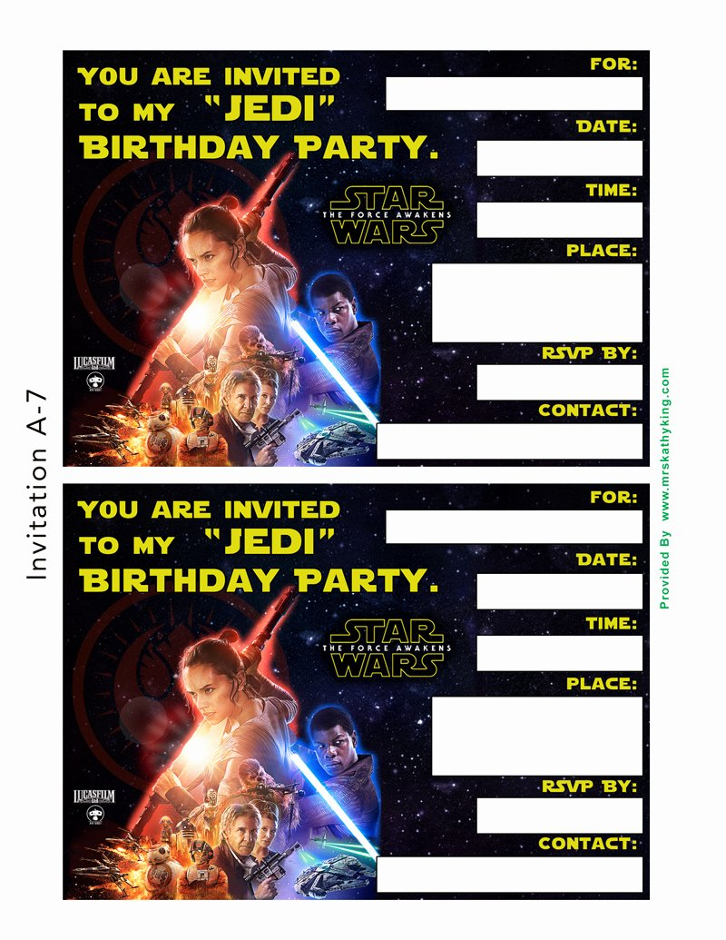 Star Wars Birthday Invitations Beautiful Free Star Wars the force Awakens Printable Party