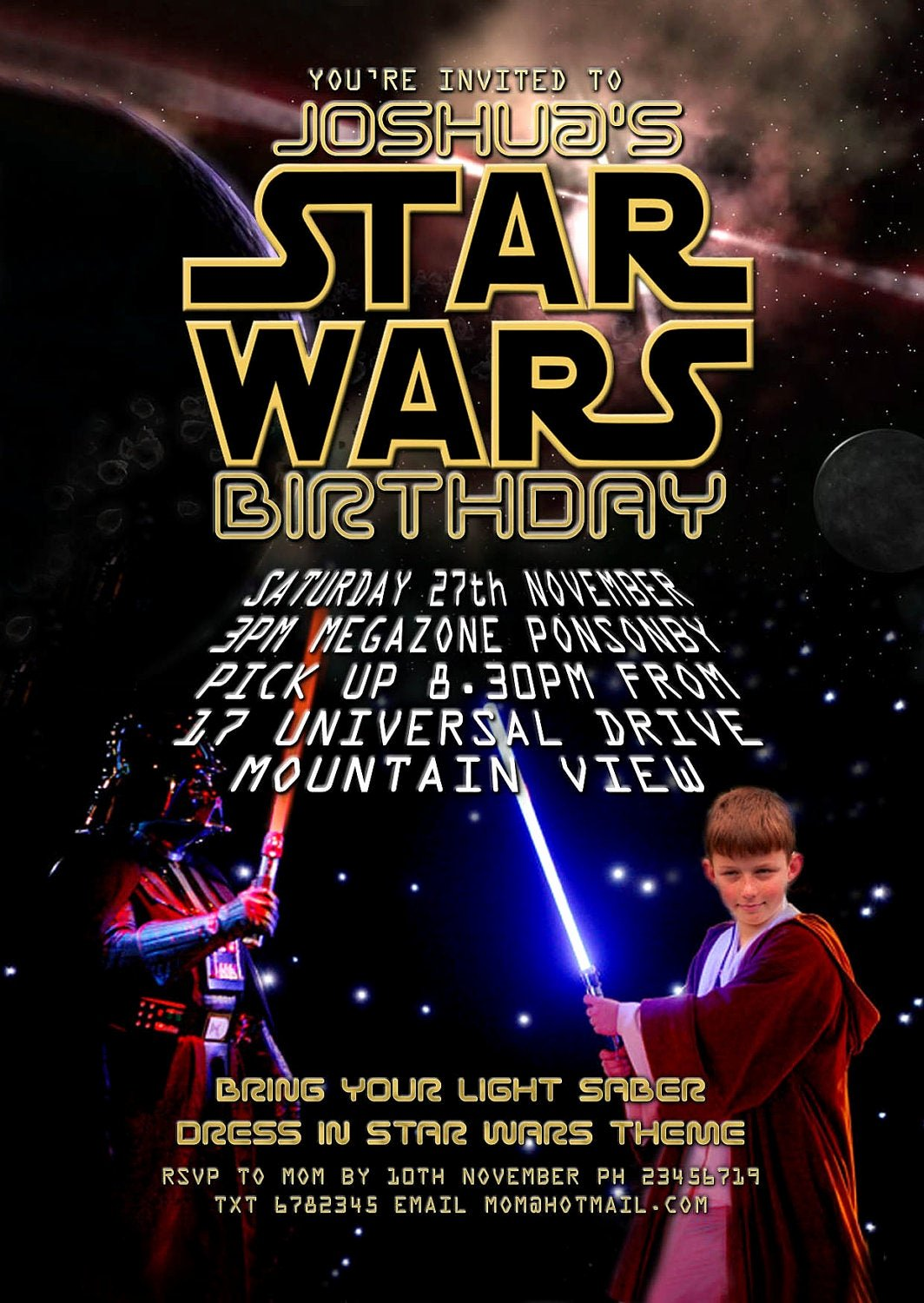 Star Wars Birthday Invitations Beautiful Lighting