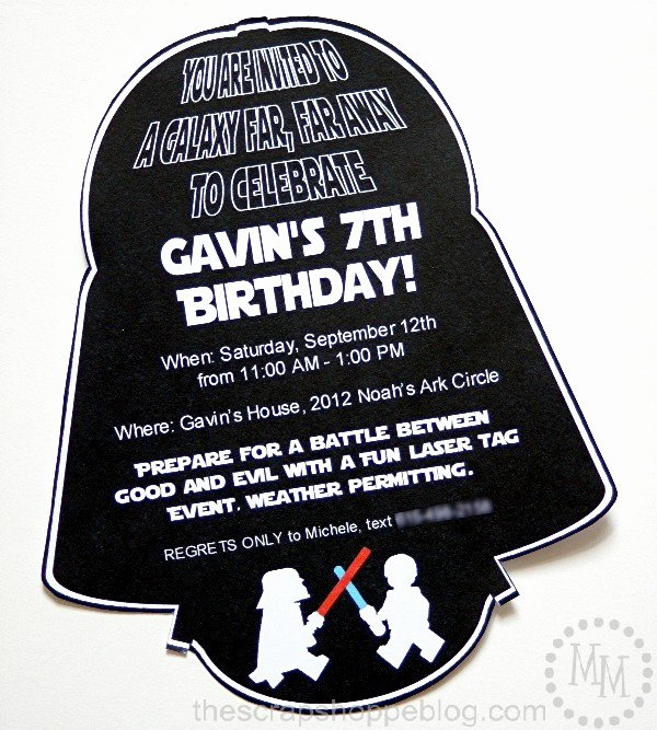 Star Wars Birthday Invitations Best Of Star Wars Darth Vader Birthday Invitation the Scrap Shoppe