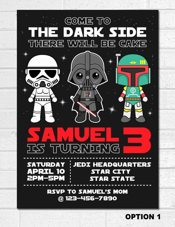 Star Wars Birthday Invitations Elegant Star Wars Invitation Star Wars Birthday Invitation Darth
