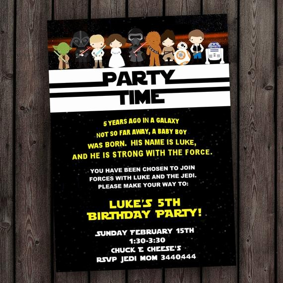 Star Wars Birthday Invitations Elegant Star Wars Invitation the force Awakens Invitation Star Wars