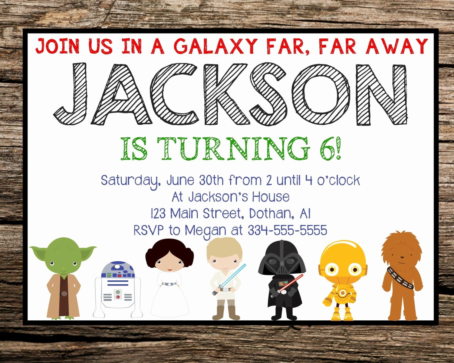 star wars invitation star wars birthday