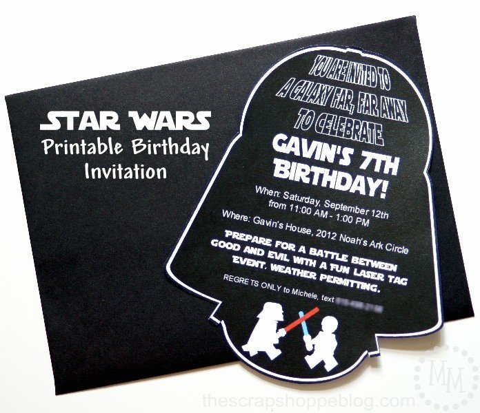 Star Wars Birthday Invitations Lovely Star Wars Darth Vader Birthday Invitation the Scrap Shoppe