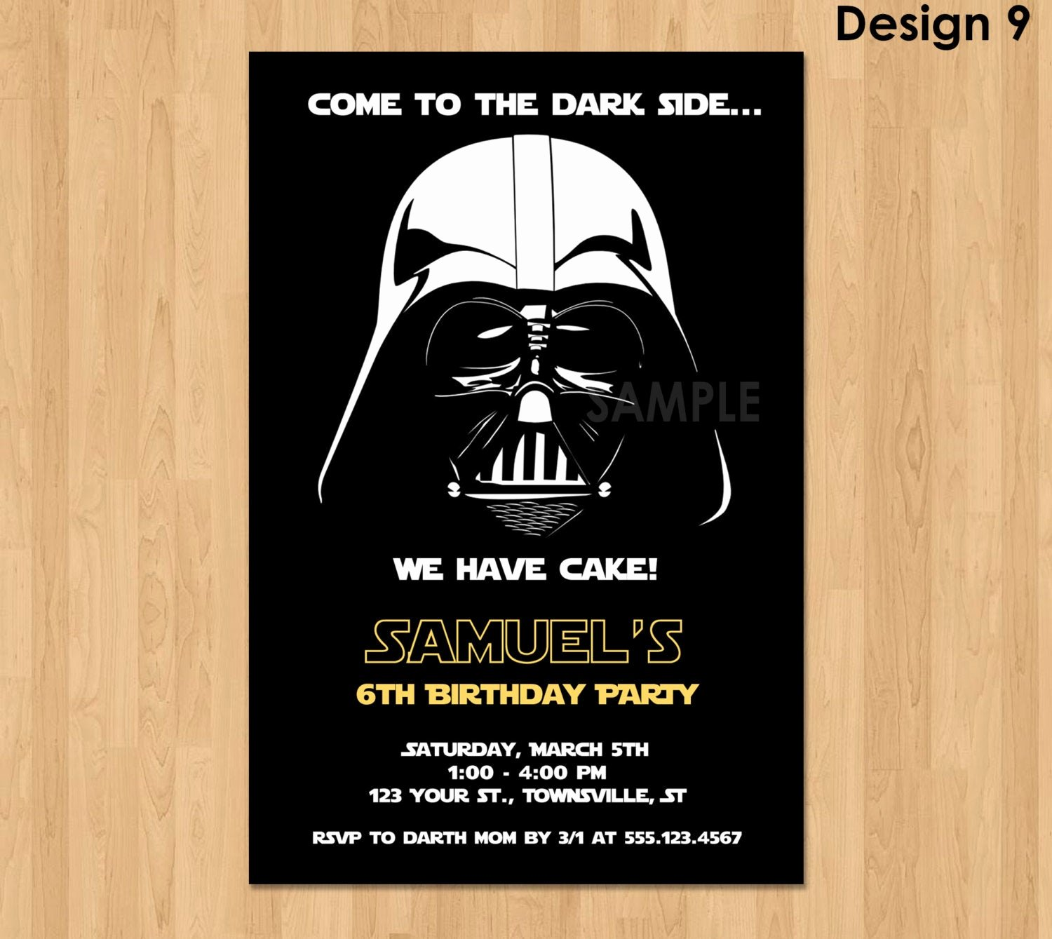 Star Wars Birthday Invitations Luxury Darth Vader Invitation Star Wars Birthday Invitation Star