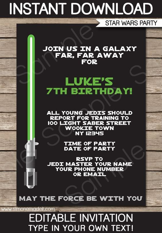 Star Wars Birthday Invitations New Star Wars Party Invitations Template – Green Blue Red