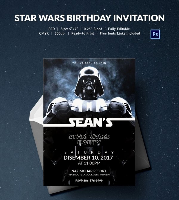 Star Wars Invitation Templates Awesome 23 Star Wars Birthday Invitation Templates – Free Sample