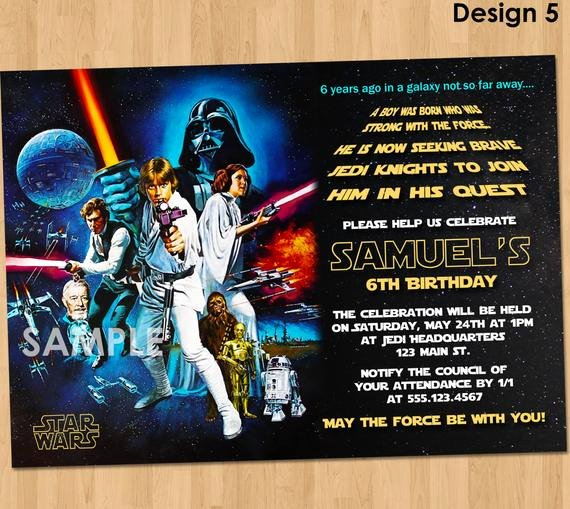Star Wars Invitation Templates Awesome Star Wars Birthday Invitation Star Wars Invitation Birthday