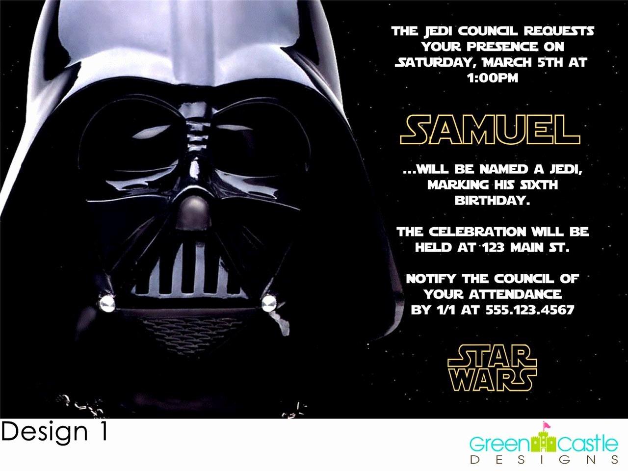 Star Wars Invitation Templates Elegant 20 Star Wars Invitations Darth Vader Custom