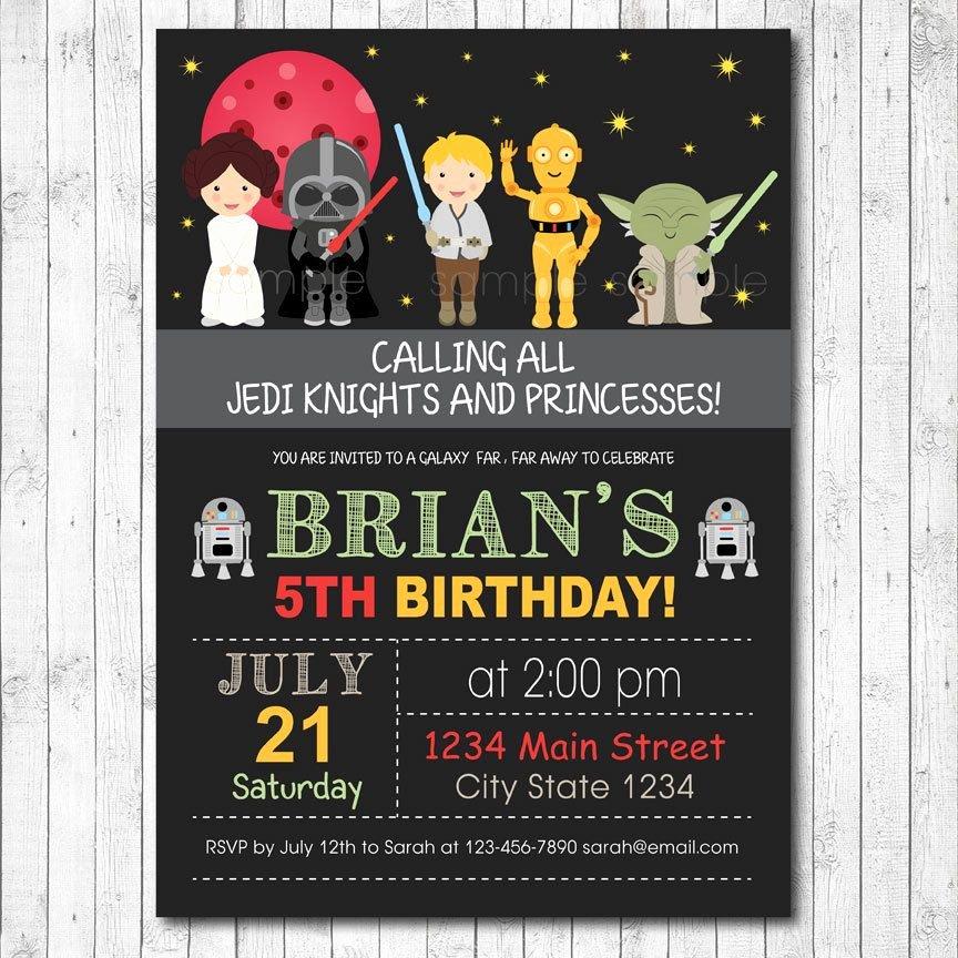 Star Wars Invitation Templates Lovely Star Wars Birthday Invitation Card Digital by