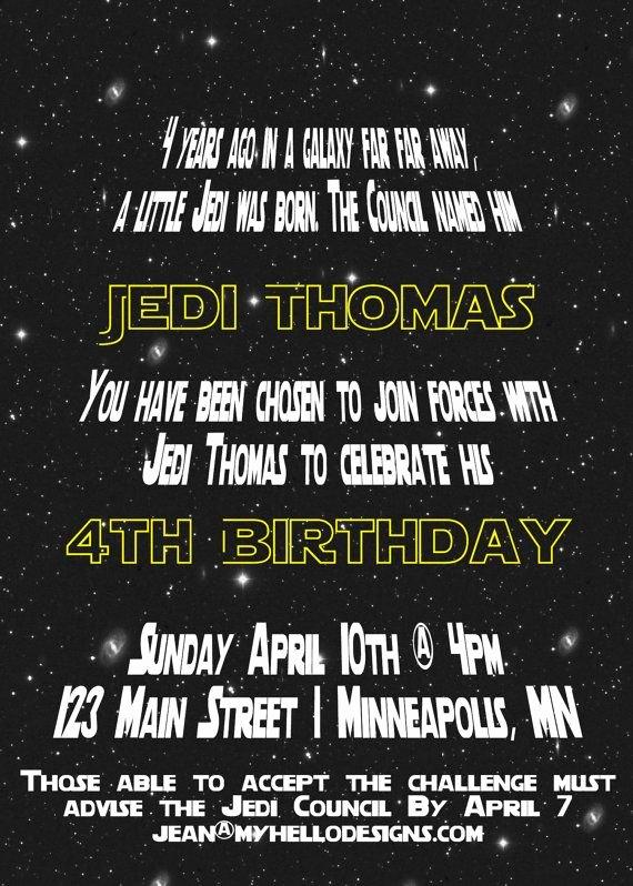 Star Wars Invitation Templates Unique Printable Star Wars Inspired Invitation Jedi Invite Diy