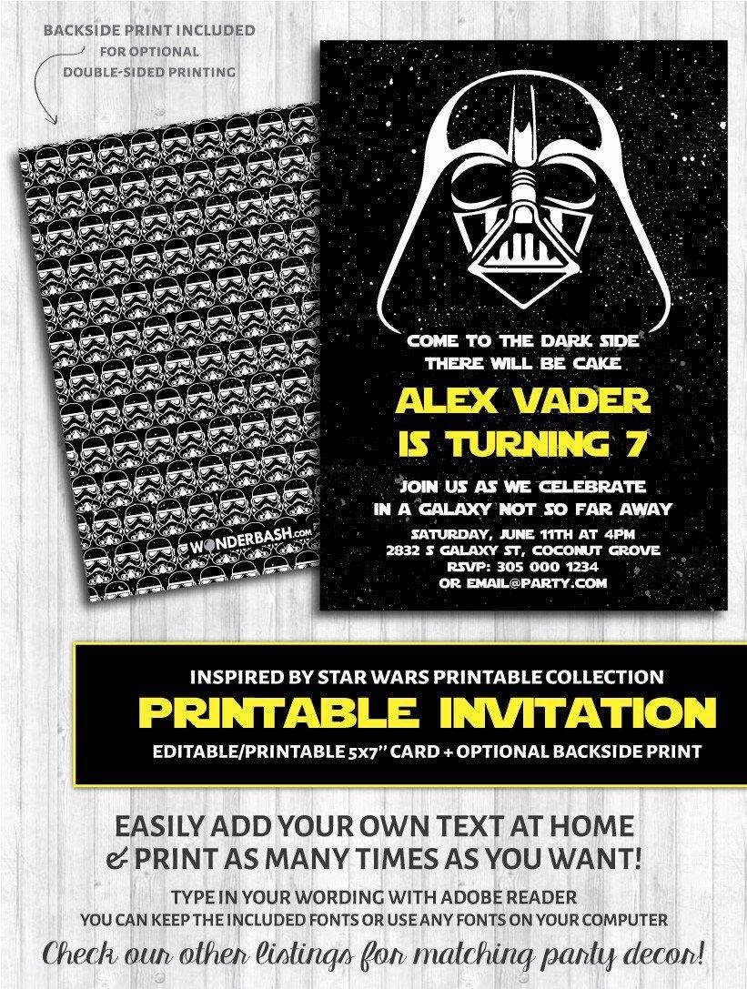 Star Wars Invitations Free Printable Elegant Galaxy Dark Side Inspired by Star Wars Invitations