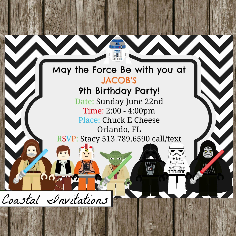 Star Wars Invitations Free Printable Inspirational Lego Star Wars Birthday Party Invitation by Coastalinvitations