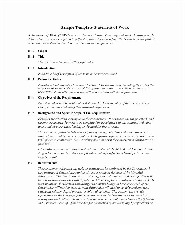 Statement Of Work Sample Beautiful Statement Of Work Template 13 Free Pdf Word Excel
