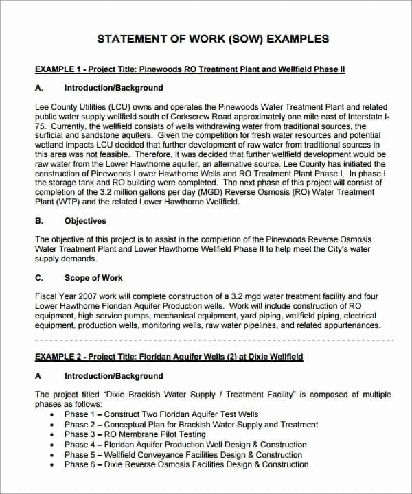 Statement Of Work Sample Fresh 8 Statement Of Work Templates Word Excel Pdf formats